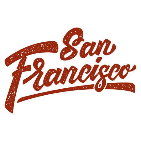 San Francisco. Lettering phrase on white background. Design element for poster, card, banner, t shirt. Vector illustration  イラスト・ベクター素材