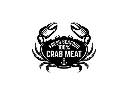 Fresh seafood. Emblem template with crab illustration. Design element for logo, label, emblem, sign, poster. Vector image