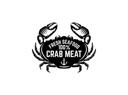 Fresh seafood. Emblem template with crab illustration. Design element for logo, label, emblem, sign, poster. Vector image