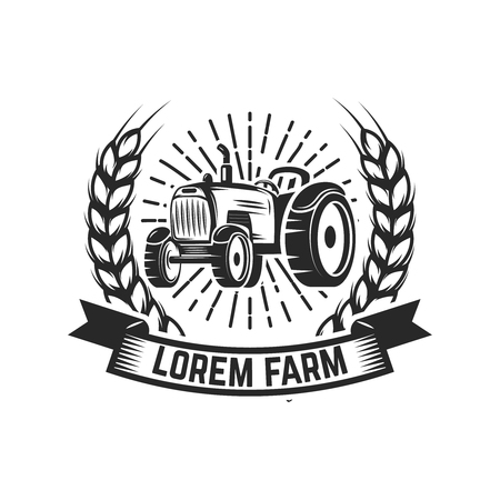 tractor emblem. Farmers market. Design element for logo, label, sign. Vector illustration Vettoriali