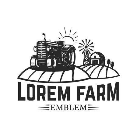 tractor emblem. Farmers market. Design element for logo, label, sign. Vector illustration