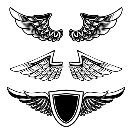 Set of vintage emblems with wings isolated on white background. Design element for logo, label, emblem, sign. Vector image Imagens - 112981081