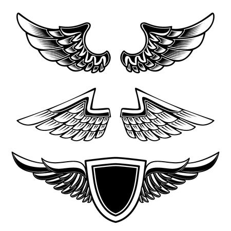 Set of vintage emblems with wings isolated on white background. Design element for logo, label, emblem, sign. Vector image
