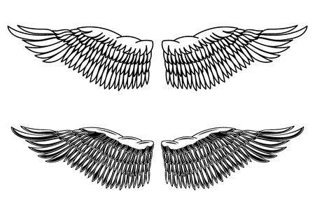Vintage style illustration of eagle wings. Design element for logo, label, emblem, sign, poster, card. Vector image