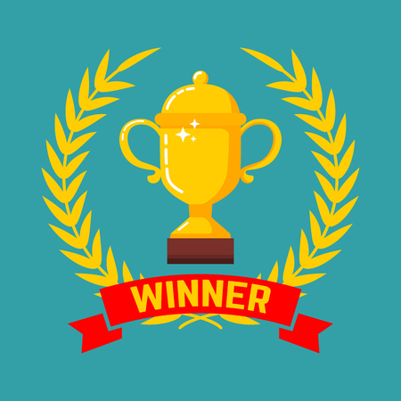 Winner gold cup icon with wreath in flat style. Design element for poster, card, banner, site, flyer. Vector illustration 向量圖像