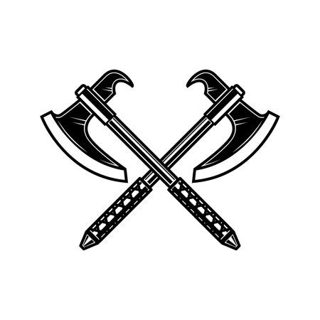 Gekreuzte mittelalterliche Axt. Gestaltungselement für Etikett, Abzeichen, Zeichen. Vektor-Illustration