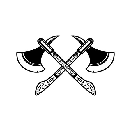 Crossed medieval axe. Design element for label, badge, sign. Vector illustration Ilustración de vector