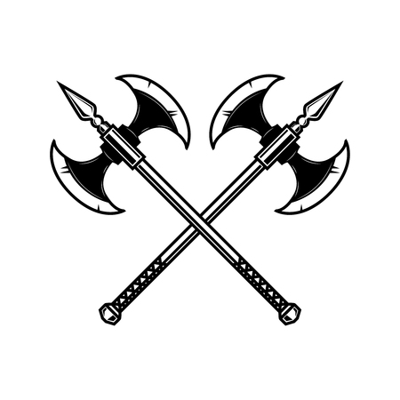 Crossed medieval axe. Design element for label, badge, sign. Vector illustration Ilustração