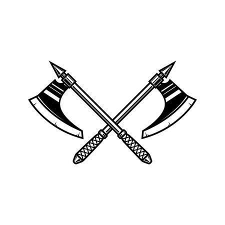 Crossed medieval axe. Design element for label, badge, sign. Vector illustration Çizim