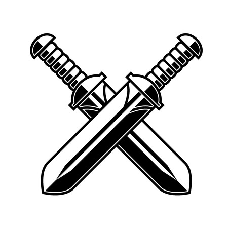 Crossed medieval swords on white background. Design element for logo, label, emblem, sign, poster, t shirt. Vector illustration