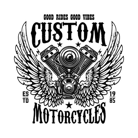 Emblem template with winged motorcycle motor. Design element for poster, logo, label, sign, t shirt. Vector illustration Stock Illustratie
