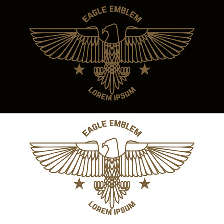 Emblem template with eagle in engraving style. Design elements for logo, label, sign, menu. Vector illustration