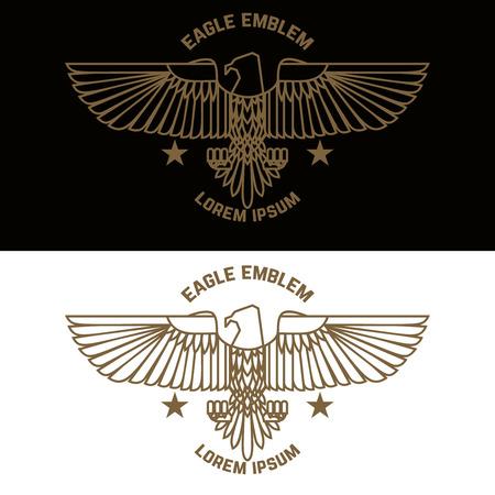 Modello di emblema con aquila in stile incisione. Elementi di design per logo, etichetta, segno, menu. Illustrazione vettoriale
