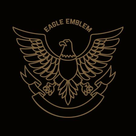 Emblem template with eagle in golden style. Design elements for logo, label, sign, menu. Vector illustration Vectores