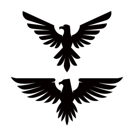 彫刻スタイルでワシとエンブレムテンプレート。ロゴ、ラベル、記号、メニューのデザイン要素。ベクトル図  イラスト・ベクター素材