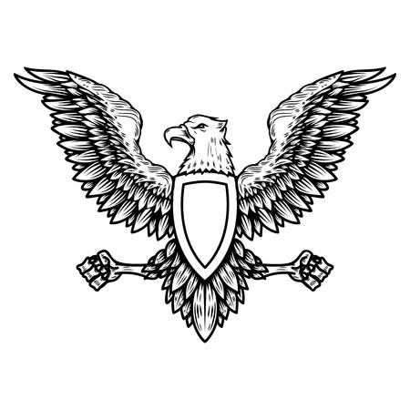 Emblem template with eagle in engraving style. Design elements for logo, label, sign, menu. Vector illustration