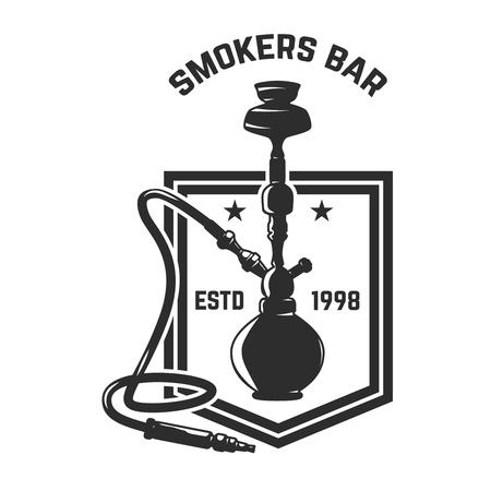 Hookah shop. Emblem template with hookah. Design element for logo, label, sign. Vector illustration Illustration