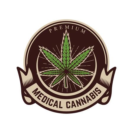 Medical marijuana. Emblem template with cannabis leaf. Design element for logo, label, emblem, sign. Vector illustration Illustration