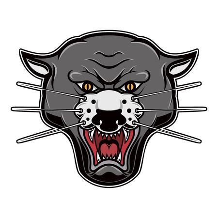 Illustration of pantera head on white background. Design element for logo, label, emblem, sign, poster, t shirt. Vector illustration