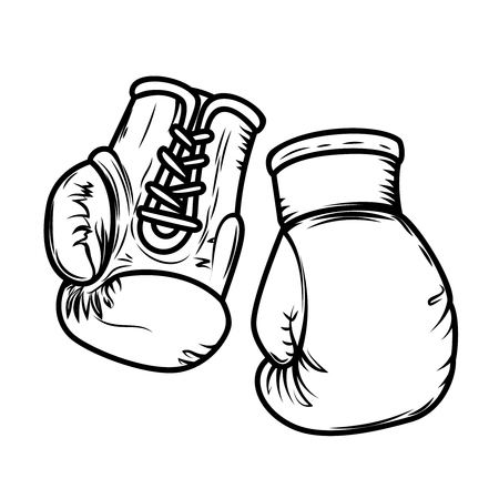 Illustration of boxing gloves. Design elements for logo, label, sign, menu. Vector image
