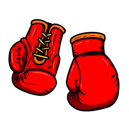 Illustration von Boxhandschuhen. Gestaltungselemente für Logo, Label, Schild, Menü. Vektorbild Logo