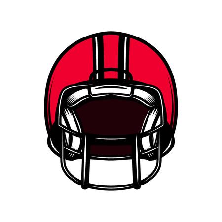 American football sport helmet isolated on white background. Design element for emblem, sign, poster, badge, t shirt. Vector illustration
