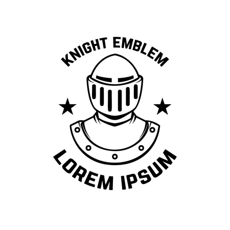 Emblem template with knight armor. Design element for logo, sign, label, badge. Vector illustration