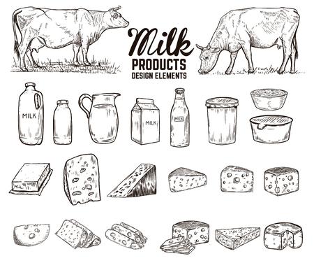 Ensemble d'éléments de conception de produits laitiers dessinés à la main. beurre, fromage, crème sure, yaourt, vaches. Pour le paquet, l'affiche, le signe, la bannière, le dépliant. Illustration vectorielle
