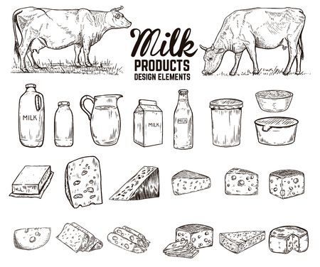 Set of hand drawn milk products design elements. butter, cheese, sour cream, yogurt, cows. For package, poster, sign, banner, flyer. Vector illustration Ilustração