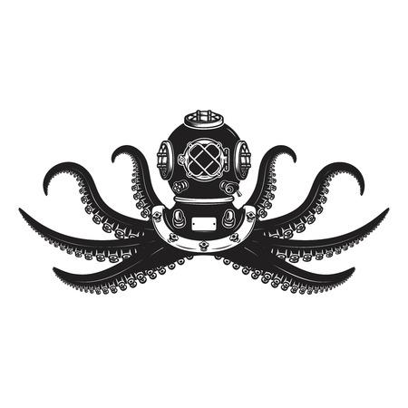 Diver helmet with octopus tentacles. Design element for poster, card, banner, emblem, t shirt. Vector illustration Stock Illustratie