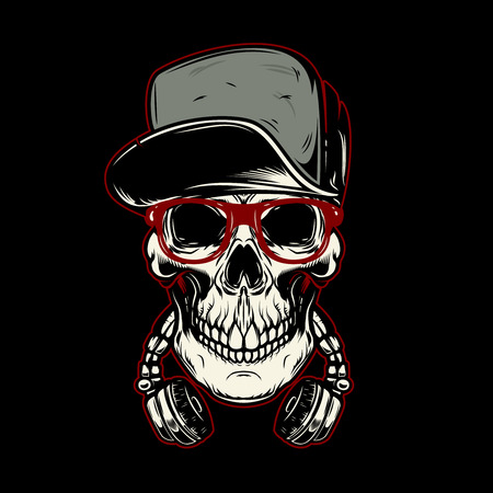 Skull in headphones. Design element for poster, card, banner, emblem, t shirt. Vector illustration Stock Illustratie