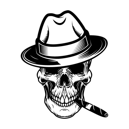 Crâne de gentleman avec cigare. Élément de design pour logo, étiquette, signe, t-shirt. Illustration vectorielle