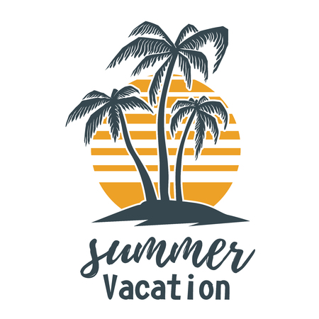 Summer emblem with palms. Design element for logo,  label, sign, t shirt. Çizim