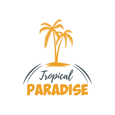 Summer emblem with palms. Design element for logo,  label, sign, t shirt. Illustration