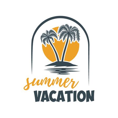 Summer emblem with palms. Design element for logo,  label, sign, t shirt. 向量圖像