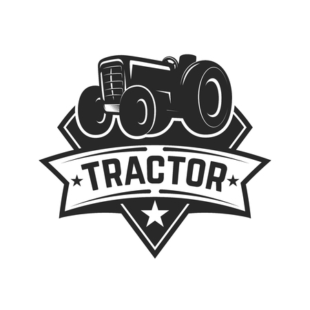 tractor emblem. Farmers market. Design element for logo, label, sign. Vector illustration Vectores