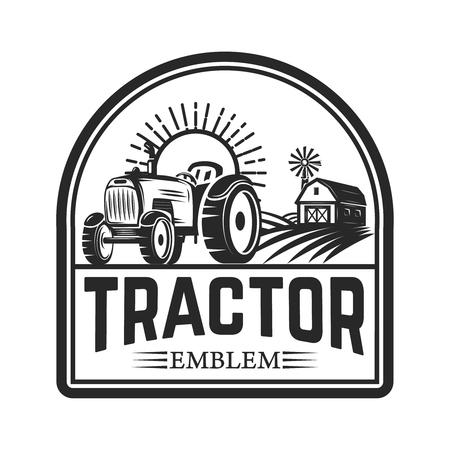 emblema del trattore. Mercato degli agricoltori. Elemento di design per logo, etichetta, segno. Illustrazione vettoriale