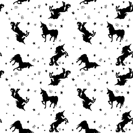 Seamless pattern with unicorns and stars. Design element for package, clothes decoration, poster, banner, flyer. Vector illustration