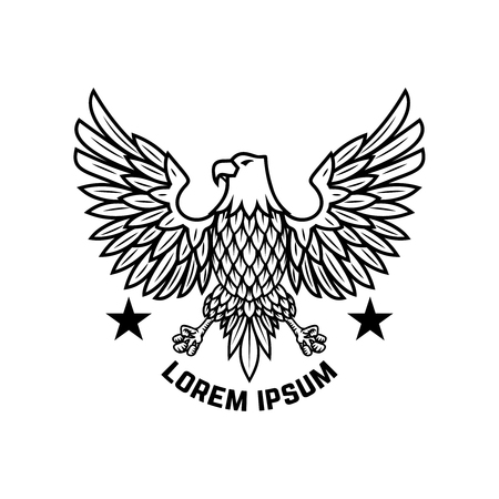 Emblem template with eagle in engraving style. Design elements for logo, label, sign, menu.