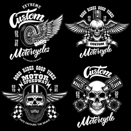 Set of racer emblem templates with motorcycle motor, wheels. wings. Design element for logo, label, emblem, sign, poster, t shirt.