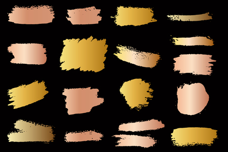 Set of golden style brush strokes. Design element for menu, poster, emblem, sign, banner, flyer. Vector illustration