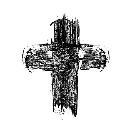 Hand drawn christian cross in grunge style. Design element for poster, greeting card, banner, flyer.
