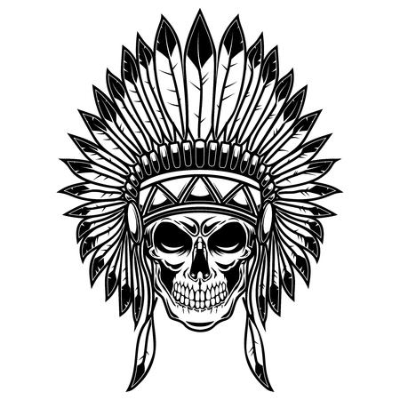 Cráneo en tocado de indios nativos americanos. Elemento de diseño de carteles, tarjetas, pancartas, letreros, camisetas. Ilustración vectorial