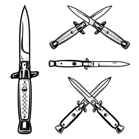 Set of flick knives. Design element for logo, label, emblem, sign. Vector illustration