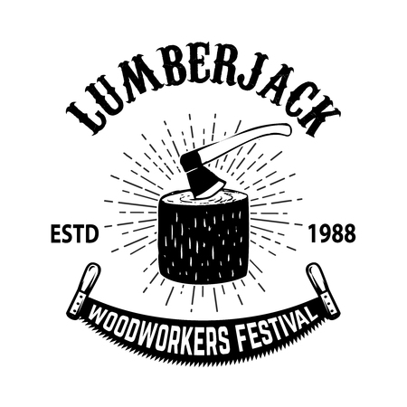 Poster template of lumberjack festival. Wood stump with hatchet. Design element for emblem, sign,banner.