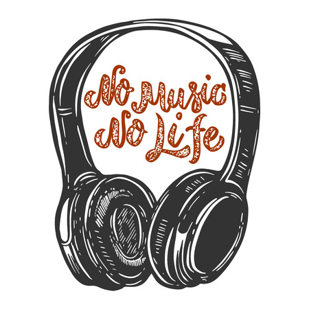 No music no life. Lettering phrase with headphones. Design element for poster, card, banner, sign, t shirt. Vector illustration
