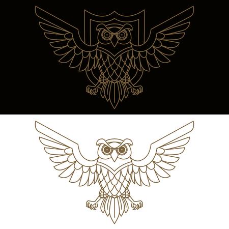 Emblem template with owl in golden style. Design elements for logo, label, sign, menu. 矢量图像