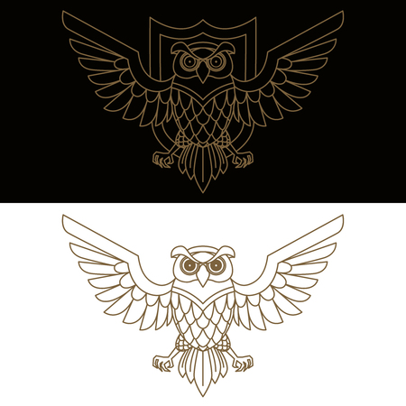 Emblem template with owl in golden style. Design elements for logo, label, sign, menu. Illustration