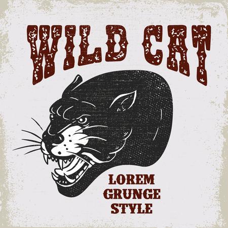 Illustration of pantera head on grunge background. Design element for poster, card, banner, t shirt sign, emblem.