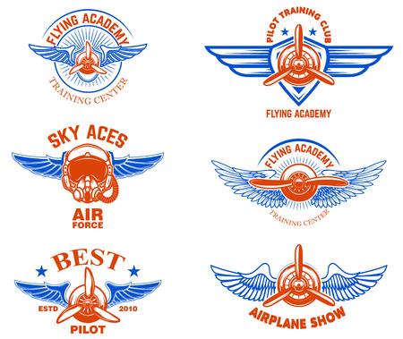 Set of vintage airplane show emblems. Design elements for logo, label, sign, menu.